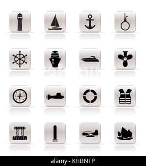 Simple Marine, Sailing and Sea Icons - Vector Icon Set - Stock Photo