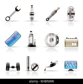Realistic Car Parts and Services icons - Vector Icon Set 1 - Stock Photo