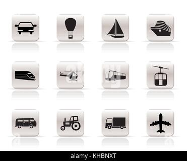 Simple Transportation and travel icons - vector icon set - Stock Photo
