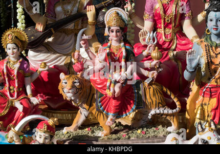 Hindu religious statues on sale on Liberty Avenue in the Richmond Hill section of Queens, New York, - Stock Photo