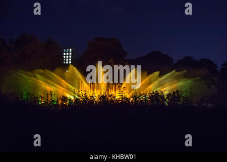 Light and water show on Fountain in the Night, Planten un Blomen, Hamburg, Germany, Europe - Stock Photo