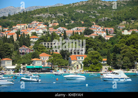 SREBRENO, CROATIA - JULY 18, 2017 : A view of boats anchored at seaside in Dubrovnik riviera in Srebreno, Croatia. - Stock Photo