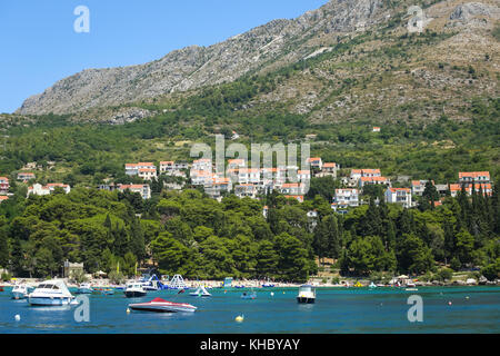SREBRENO, CROATIA - JULY 18, 2017 : A view of boats anchored at seaside in Dubrovnik riviera in Srebreno, Croatia. - Stock Photo