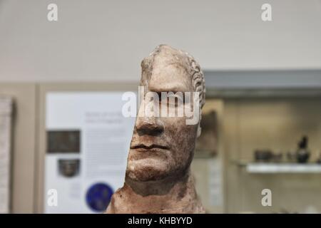 British Museum, London - 2 Aug 2008 - Disfigured sculptures of Roman Emperors: Julius Caesar 48BC - Stock Photo