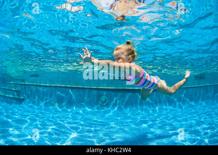 Child Swimming Underwater Lesson Girl Diving With Fun In Blue Pool Stock Photo Royalty Free