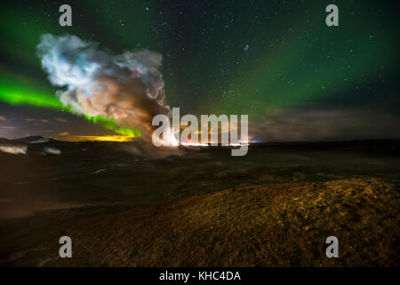 Northern lights over Gunnuhver, a geothermal geyser in Reykjanes peninsula. - Stock Photo