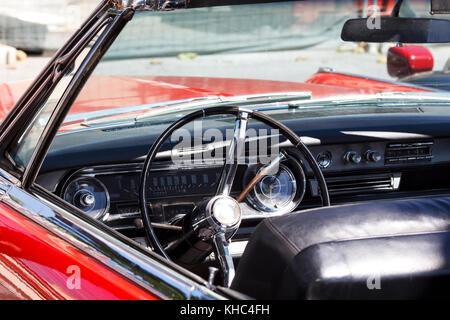 Interior of a classic convertible retro car - Stock Photo