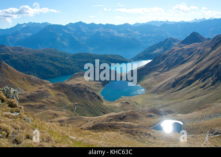view over val piora lakes *** Local Caption *** switzerland, ticino, valley, val piora, lakes, laghetti di taneda, - Stock Photo
