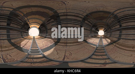 tunnel with rails. Hdri map. 3d illustration - Stock Photo