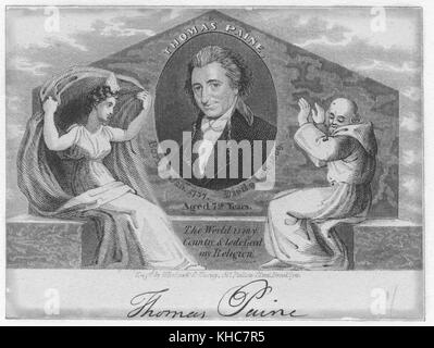 A memorial engraving of Thomas Paine, with a smirk on his face, containing his dates of birth and death, with text - Stock Photo