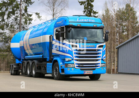 AANEKOSKI, FINLAND - MAY 20, 2017: Blue and white Scania R580 tanker of E Laurila Oy parked on truck stop asphalt - Stock Photo