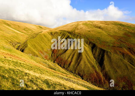 Wonderful rolling grassy hills in the Howgills, Yorkshire Dales national park - Stock Photo