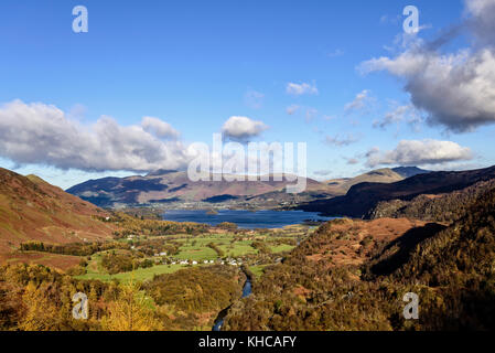 View over Derwent Water towards Keswick from the summit of Castle Crag in Borrowdale - Stock Photo