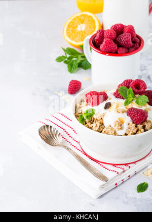Healthy breakfast with granola and berries - Stock Photo