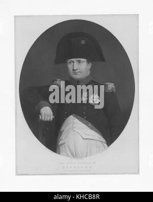 Engraved half length portrait of Napoleon Bonaparte, French military and political leader during the French Revolution - Stock Photo