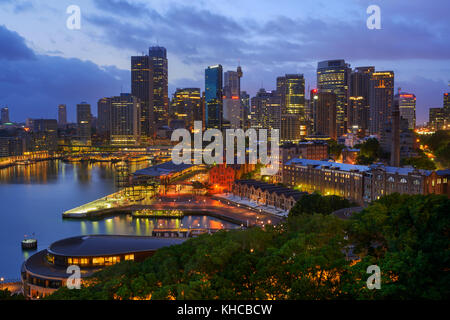 Circular Quay and The Rocks at Dawn, Sydney, New South Wales (NSW), Australia - Stock Photo