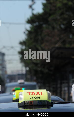 Taxi drivers protest against Uberpop drivers service, Lyon, France - Stock Photo