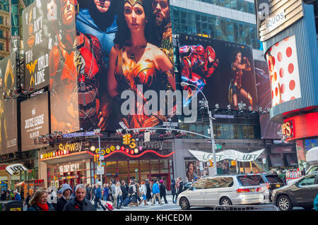 Advertising for the Warner Bros'  'Justice League' film is seen in Times Square in New York on Sunday, November - Stock Photo