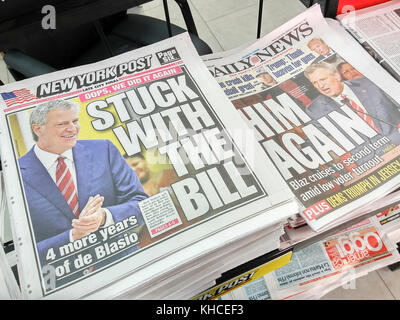 Front pages of New York newspapers on Wednesday, November 8, 2017, the day after Election Day, report on New York - Stock Photo