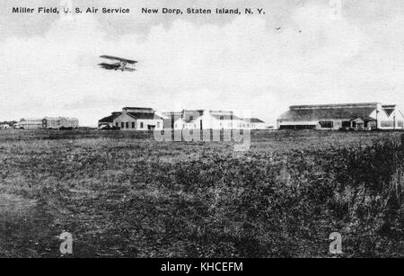 A postcard from a photograph of Miller Field, it was an airfield that was completed in 1921 and used by the United - Stock Photo