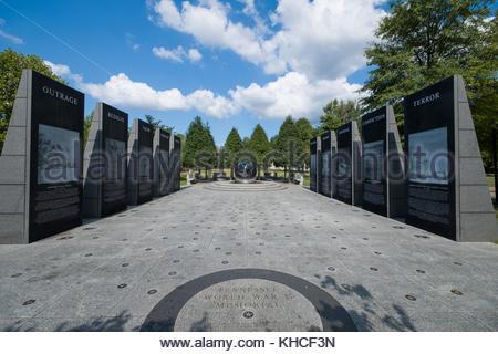 World War II Memorial, Bicentennial Capitol Mall State Park, Nashville, Davidson County, Tennessee, USA - Stock Photo