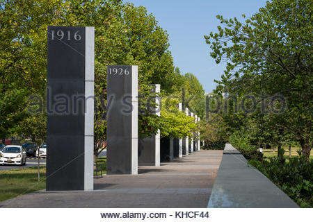 Granite pylons along the Pathway of History engraved with significant years in the history of Tennessee, Bicentennial - Stock Photo