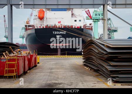 Shipbuilding steel plates in dockyard. Camranh shipyard. Vietnam - Stock Photo