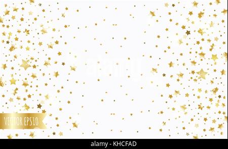 golden falling stars on a white background - Stock Photo