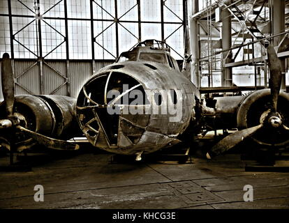 The Swamp Ghost is a Boeing B-17E Flying Fortress on display at the Pacific Aviation Museum on Ford Island, Pearl - Stock Photo