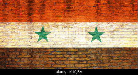 Syria national flag painted on a brick wall. 3d illustration - Stock Photo