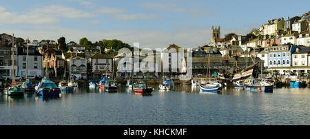 Houses overlooking Brixham harbour. - Stock Photo