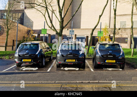 Electric cars for hire, part of the e-car club, Town Centre, Northampton, UK - Stock Photo