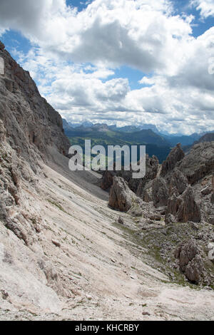 View looking along the Chedul Tal to the  Langental in the  Naturpark Puez-Geisler or Parco Naturale Puez-Odle Selva - Stock Photo