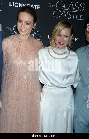 NEW YORK, NY - AUGUST 09:  Brie Larson, Naomi Watts attends 'The Glass Castle' New York screening at SVA Theatre - Stock Photo