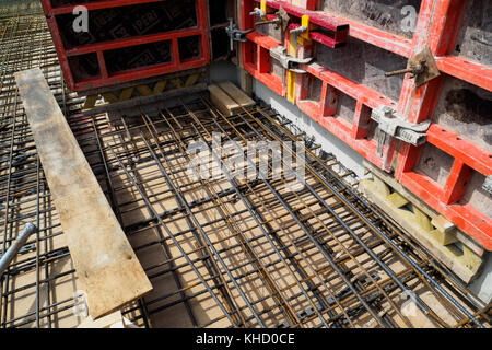 Reinforcement bars of an RC slab in a construction site. - Stock Photo