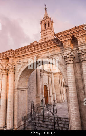 Cathedral on Plaza de Armas in Arequipa. Arequipa, Peru. - Stock Photo