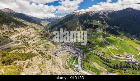 Panorama of Canillo - aerial view. Canillo, Andorra. - Stock Photo