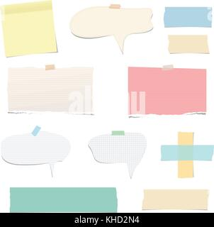 Ripped vector notebook, note paper, sticky, adhesive tape, with speech bubble for text or message isolated on white - Stock Photo