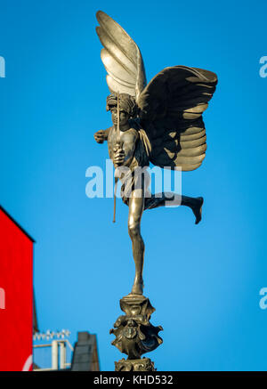 Statue of Anteros at Shaftesbury Memorial Fountain, Piccadilly Circus, London. The Statue was erected in 1892. - Stock Photo