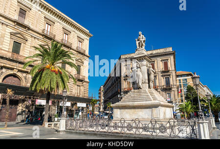 Monument to Vincenzo Bellini on Stesicoro Square in Catania - Sicilia, Italy - Stock Photo