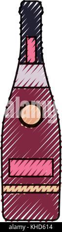bottle wine  vector  illustration - Stock Photo