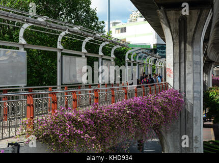 Bangkok, Thailand - Jun 15, 2016. Bridge for pedestrian at downtown in Bangkok, Thailand. Bangkok has a population - Stock Photo