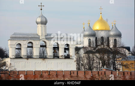 Veliky Novgorod- Ancient belfry and St. Sofia cathedral. View from Volkhov river - Stock Photo