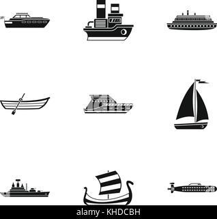 Yacht icons set, simple style - Stock Photo