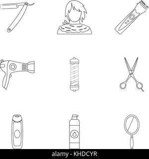 Hairstyle icons set, outline style - Stock Photo