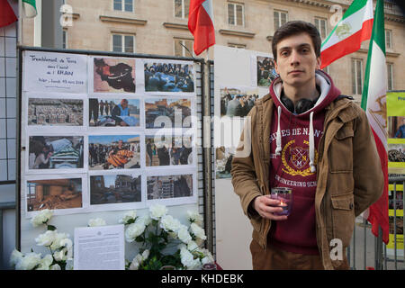Paris, France. 14th Nov, 2017. Paris, France 14/11/2017 - Iranian in solidarity with victims of Iran magnitude 7.3 - Stock Photo
