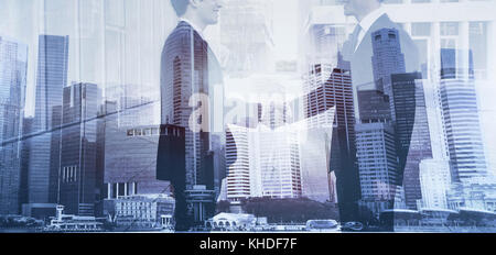 business people shaking hands banner double exposure, cooperation concept, handshake - Stock Photo