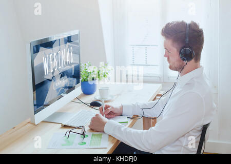 businessman participating webinar online, education on internet, e-learning concept - Stock Photo