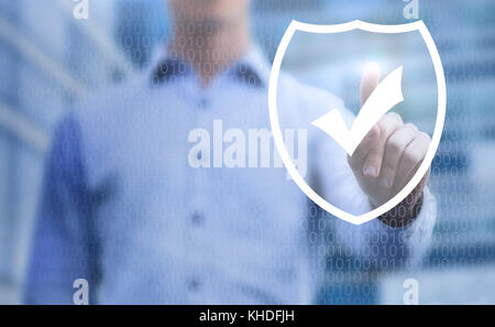 cybersecurity concept, online data protection on internet, virtual web shield on touchscreen - Stock Photo