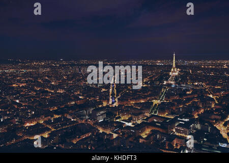 PARIS, FRANCE - AUGUST 29 2015: beautiful night panoramic aerial view of Paris and illuminated Eiffel Tower, city - Stock Photo